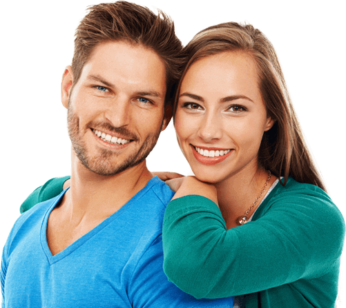 Smiling man and woman at Yenzer Dental
