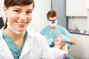 Dental hygienist in a dental office